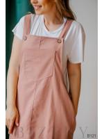 Сарафан бежево-розовый из полированного льна + мягкая белая футболка