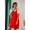 Красный сарафан из полированного льна + мягкая белая футболка