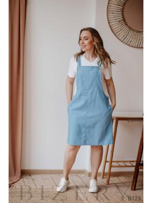 Голубой сарафан из полированного льна + мягкая белая футболка