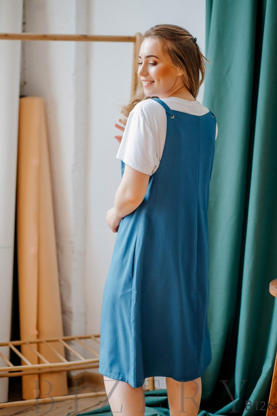 Сарафан голубой свободного кроя на завязках + мягкая белая футболка
