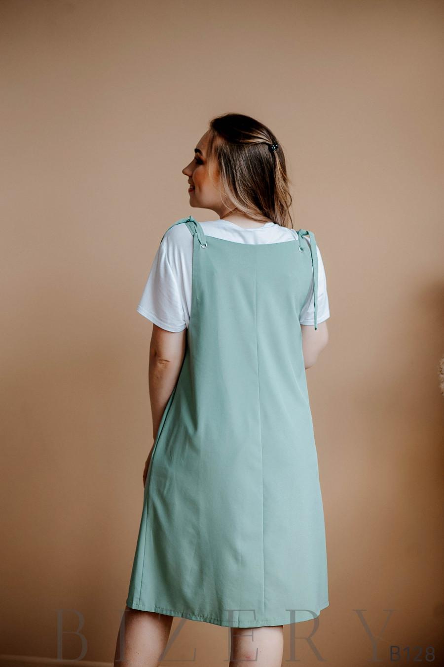 Сарафан фисташковый свободного кроя на завязках + мягкая белая футболка
