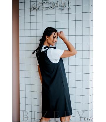 Сарафан чёрный свободного кроя на завязках + мягкая белая футболка