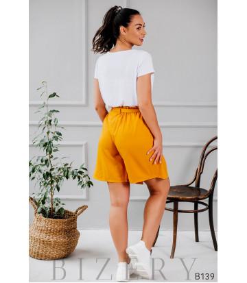 Шорты-юбка на запах жёлтые