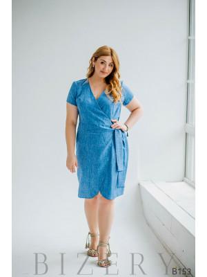 Платье на запах из льна голубое