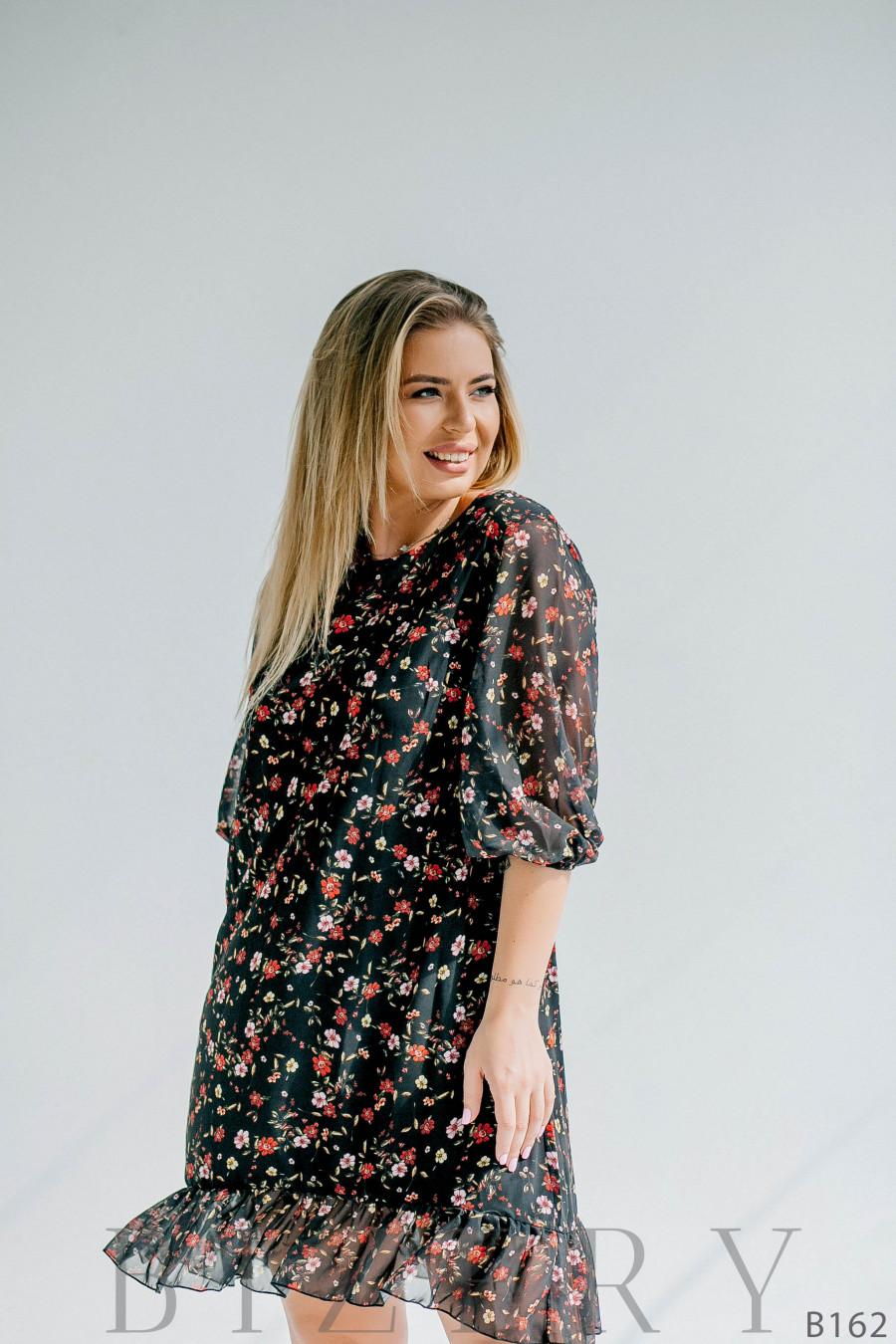 Шифоновое лёгкое платье мини с цветочным принтом