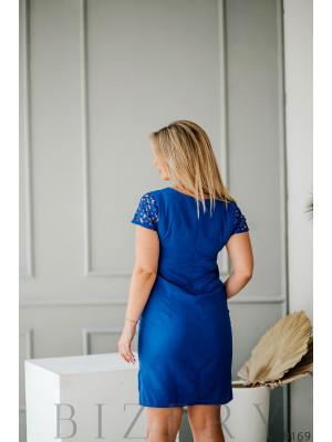 Синее платье мини кружевными рукавами
