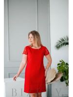 Красное платье мини с кружевными рукавами