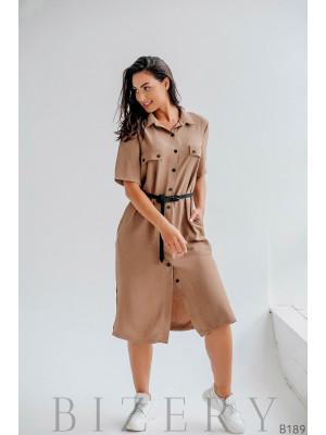 Платье-рубашка удлиненное с поясом