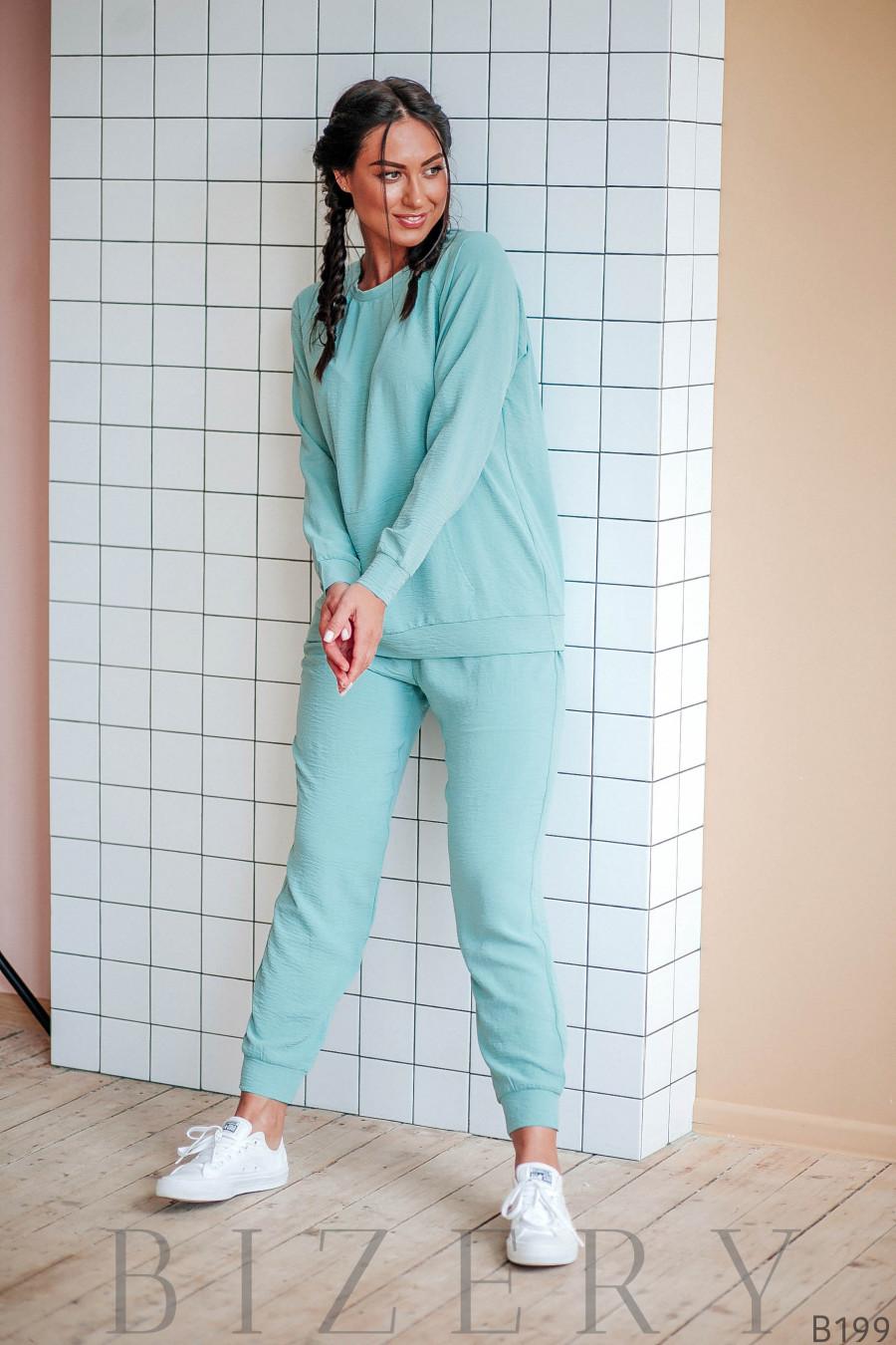 Повседневный костюм полу-спорт мятного цвета
