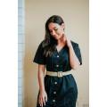 Платье-халат чёрное с плетёным джутовым пояском