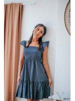 Лёгкий летний сарафан тёмно-синий в мелкий горошек