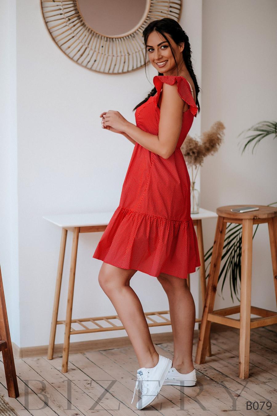 Лёгкий летний сарафан красный в мелкий горошек