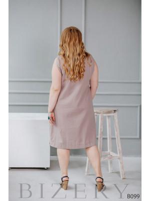 Стильное платье миди бежевое из льна без рукавов с боковым карманом B099