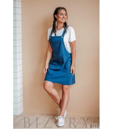 Синий сарафан из полированного льна + мягкая белая футболка