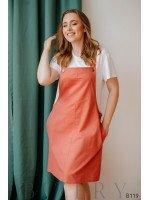 Персиковый сарафан из полированного льна + мягкая белая футболка