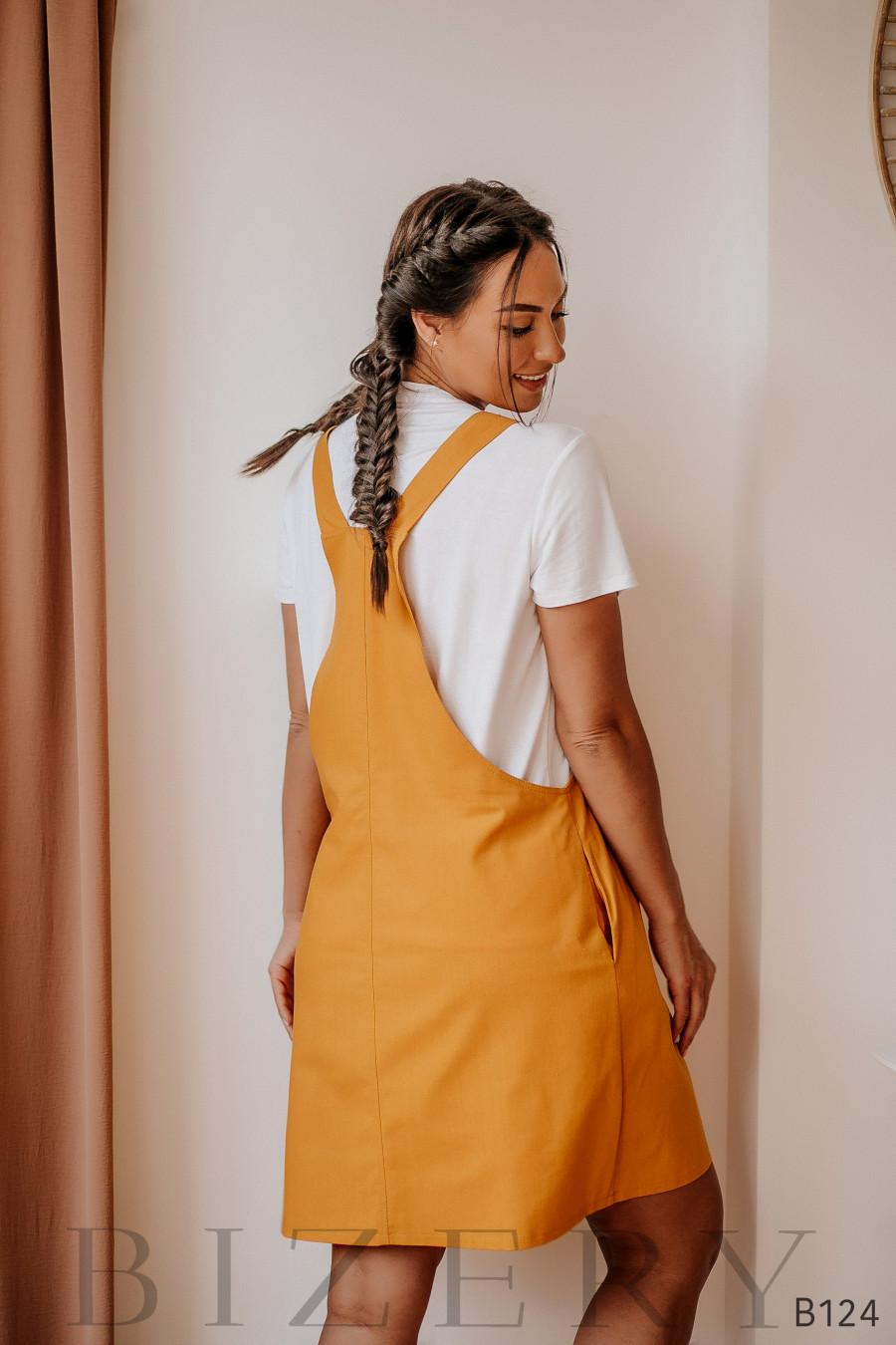 Горчичный сарафан из полированного льна + мягкая белая футболка