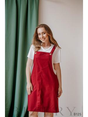 Сарафан цвета марсала из полированного льна + мягкая белая футболка