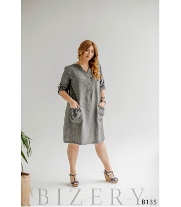 Серое платье миди с V-образным вырезом и накладными карманами