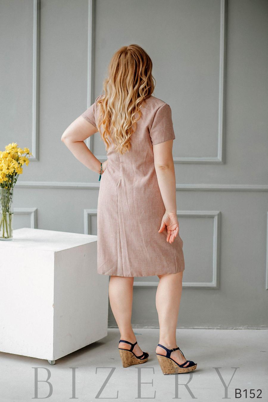 Платье на запах из льна бежевое