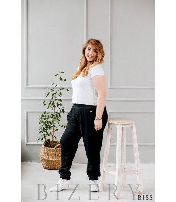 Штаны чёрного цвета из льна внизу с манжетом