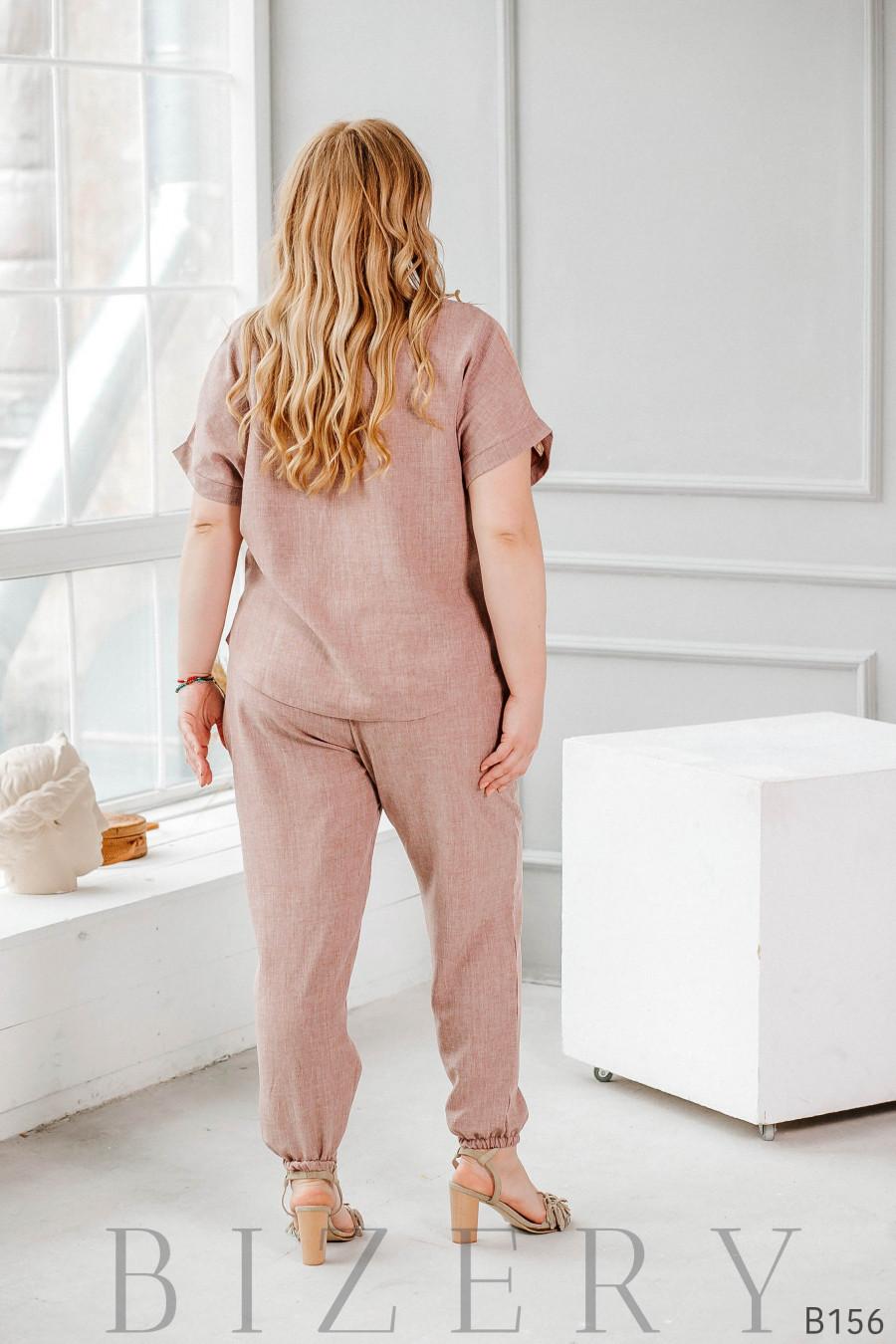 Лёгкий удобный костюм на каждый день из льна и шифона