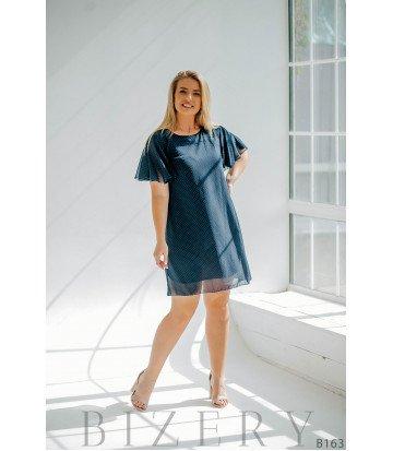 Лёгкое повседневное платье мини из шифона в мелкий горошек