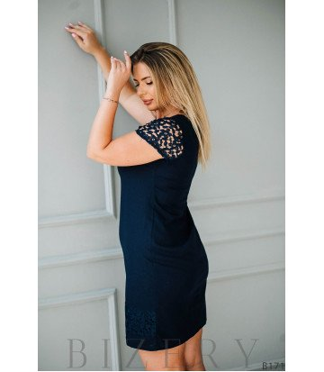 Чёрное платье мини кружевными рукавами