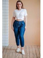 Штаны синие из лёгкого джинса на резиночке