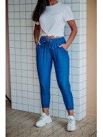 Штаны голубые из лёгкого джинса на резиночке
