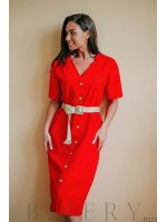 Платье-халат красное с плетёным джутовым пояском