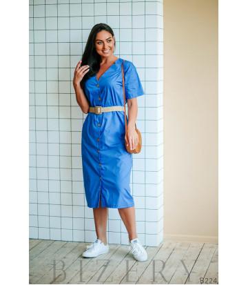 Платье-халат голубое с плетёным джутовым пояском