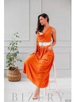 Длинный летний сарафан приталенный с горолинкой-хомут оранжевый