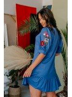 Платье мини голубое с вышивкой на рукавах