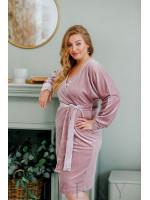 Нарядное платье большого размера из велюра фрезовое