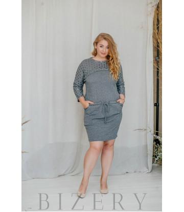 Платье большого размера повседневное вязка серое В315