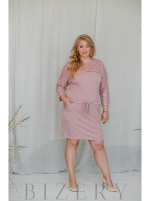 Платье большого размера повседневное вязка розовое В316