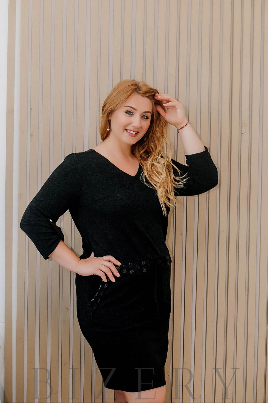 Платье вязка большого размера с поясом на кулиске чёрное В317