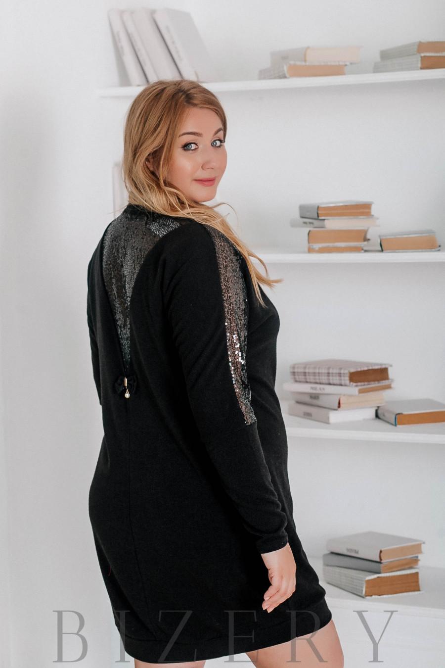 Платье большого размера из ангоры чёрное В320