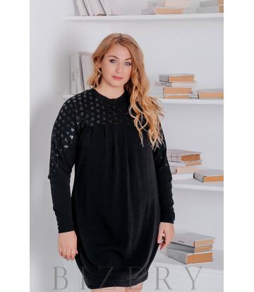 Платье из вязки большого размера свободного кроя чёрное В322