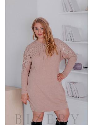 Платье из вязки большого размера свободного кроя бежевое В323