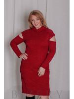 Платье из мягкой вязки большого размера миди красное В324