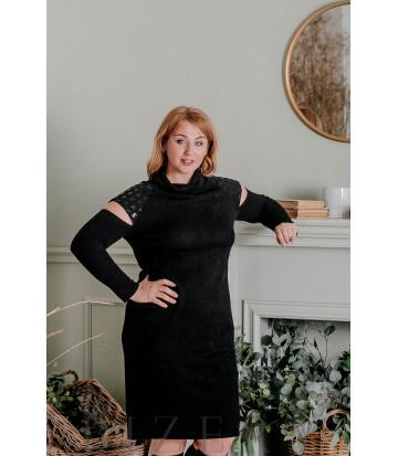 Платье из мягкой вязки большого размера миди чёрное В325