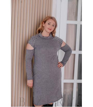 Платье из мягкой вязки большого размера миди серое В326