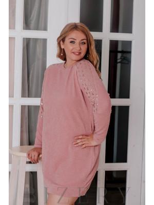 Комфортное платье из вязки украшенное мелкими пайетками В327