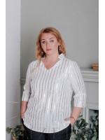 Блуза с рукавами 3/4 большого размера белая В332