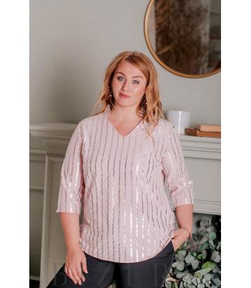 Блуза с рукавами 3/4 большого размера розовая В333