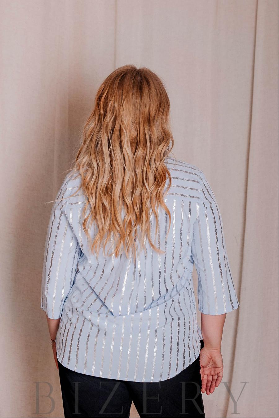 Блуза с рукавами 3/4 большого размера голубая В334