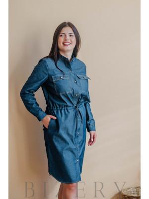 Платье большого размера джинсовое с пояском на кулиске В346