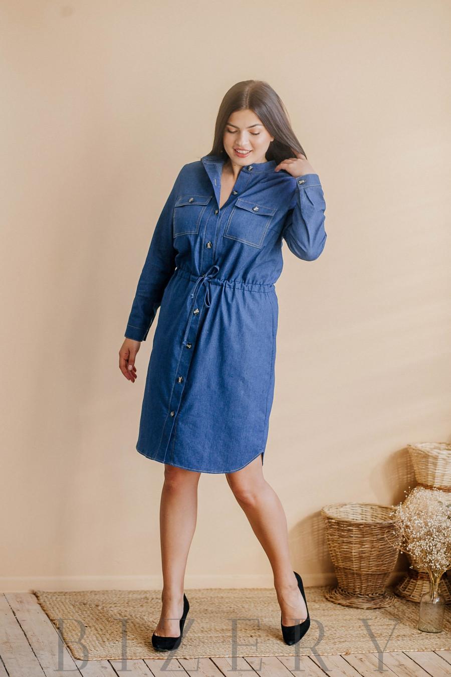 Платье большого размера джинсовое с пояском на кулиске В347