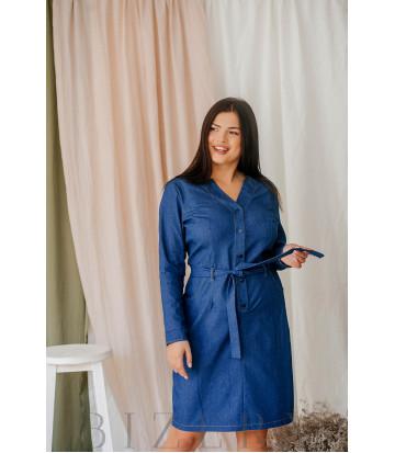 Джинсовое платье миди большого размера с V-образным вырезом В348